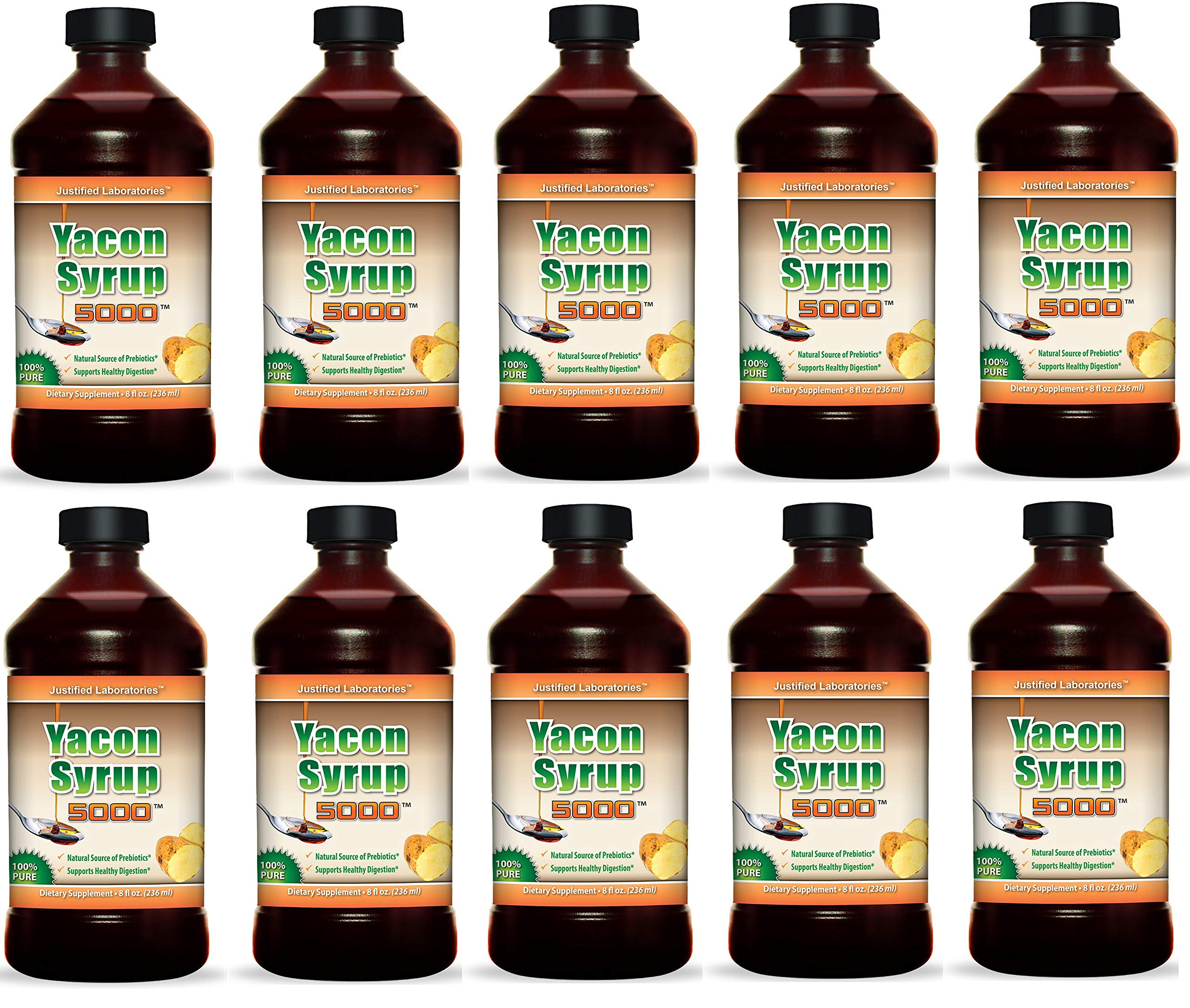 Yacon Syrup 100% Pure Raw All Natural Low Cal Natural Sweetener 8 oz 10 Bottles