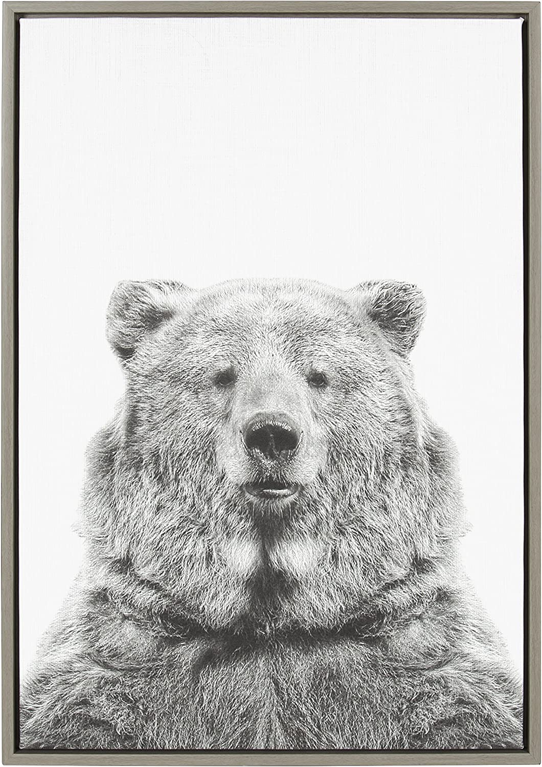 Kate And Laurel Sylvie Bear Animal Print Black And White Portrait Framed Canvas Wall Art By Simon Te Tai Gray 23x33 Posters Prints