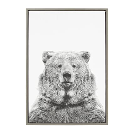 Amazon.com: Kate and Laurel - Sylvie Bear Animal Print Black and ...