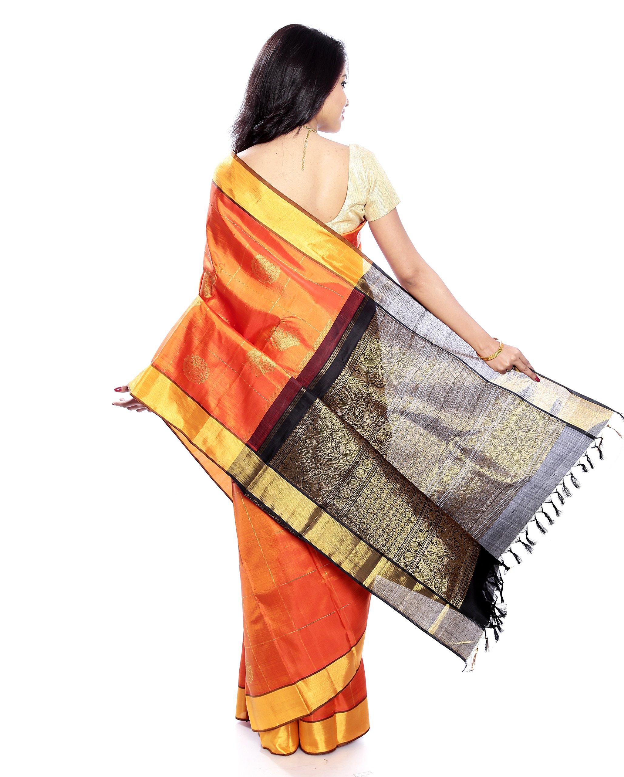 Mandakini — Indian Women's Kanchipuram - Handloom - Pure Zari & Pure Silk Saree (Orange ) (MK207) by Mandakini (Image #5)