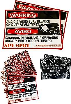 Spy Spot Set of 6 Vinyl Stickers Audio and Video Surveillance Cameras CCTV Security Systems Decals Weatherproof UV Resistant 3 x 3