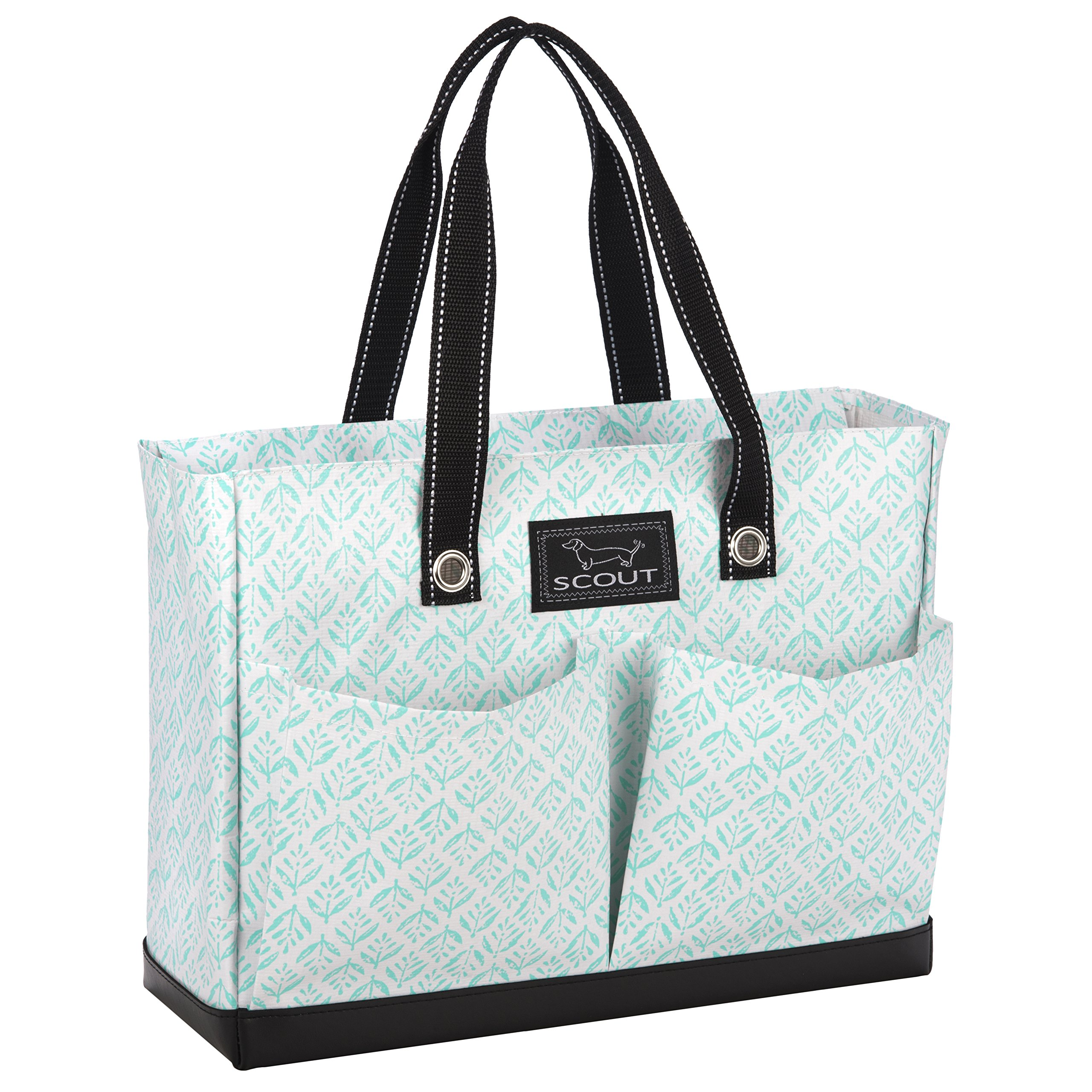 SCOUT Uptown Girl Medium Multi-Pocket Tote Bag, Water Resistant, Zips Closed, Aqua Fresca
