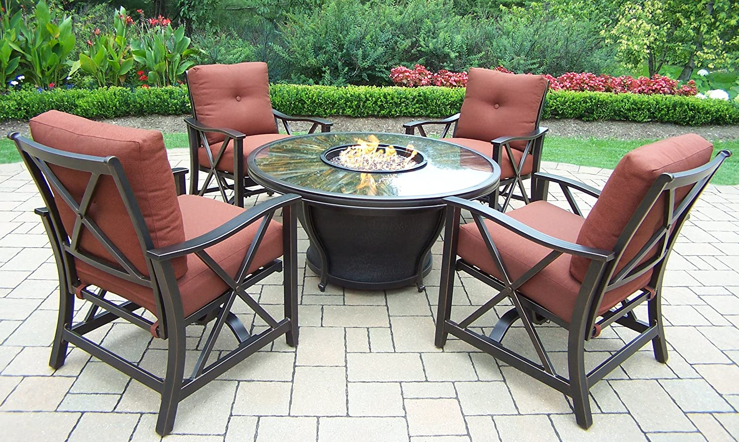 Oakland Living Moonlight Round Gas Fire Pit Table With Tempered Fiber Glass  Top, Antique Bronze