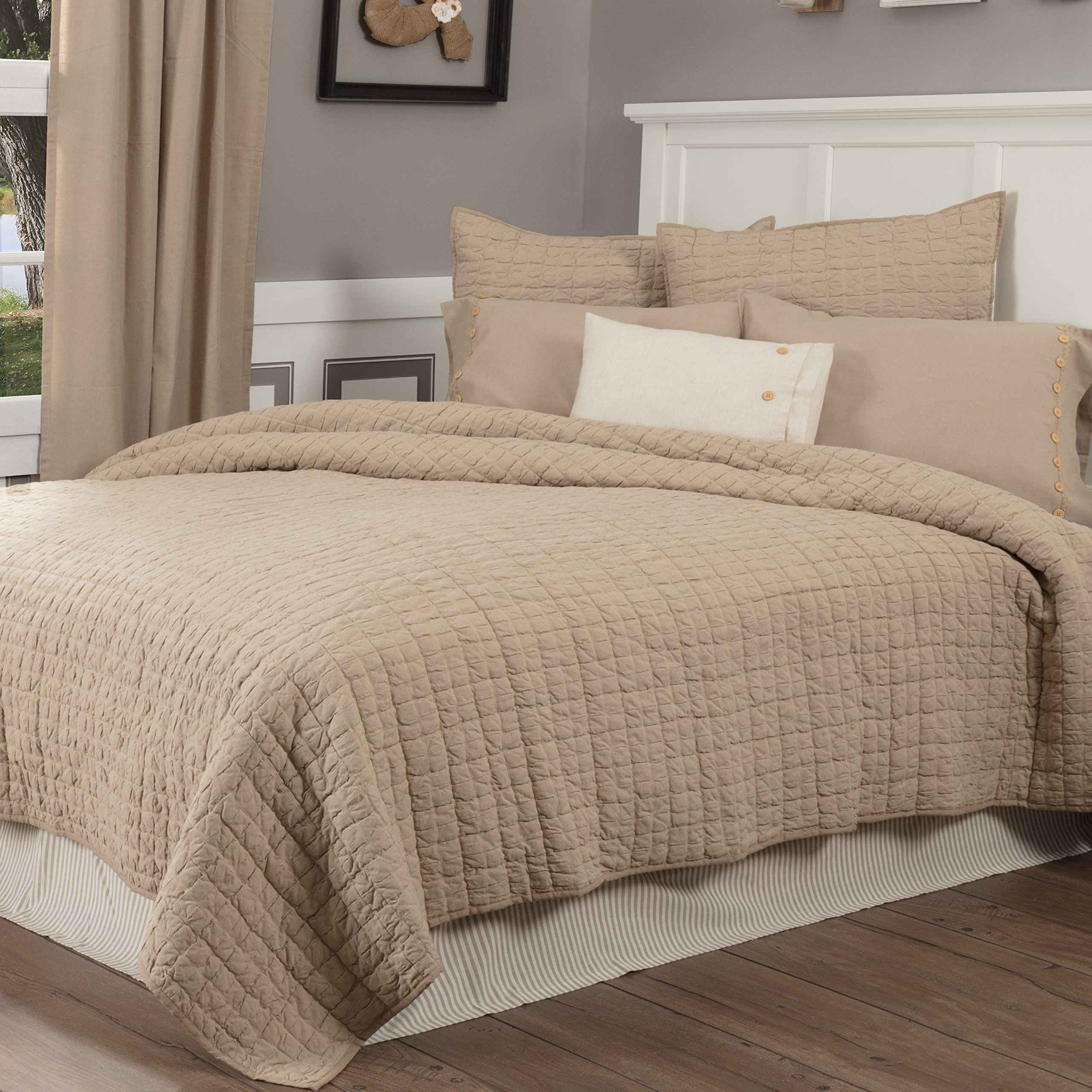 Piper Classics Clara's Cottage Taupe King Quilt, 95x105, Farmhouse Style Beige Bedspread