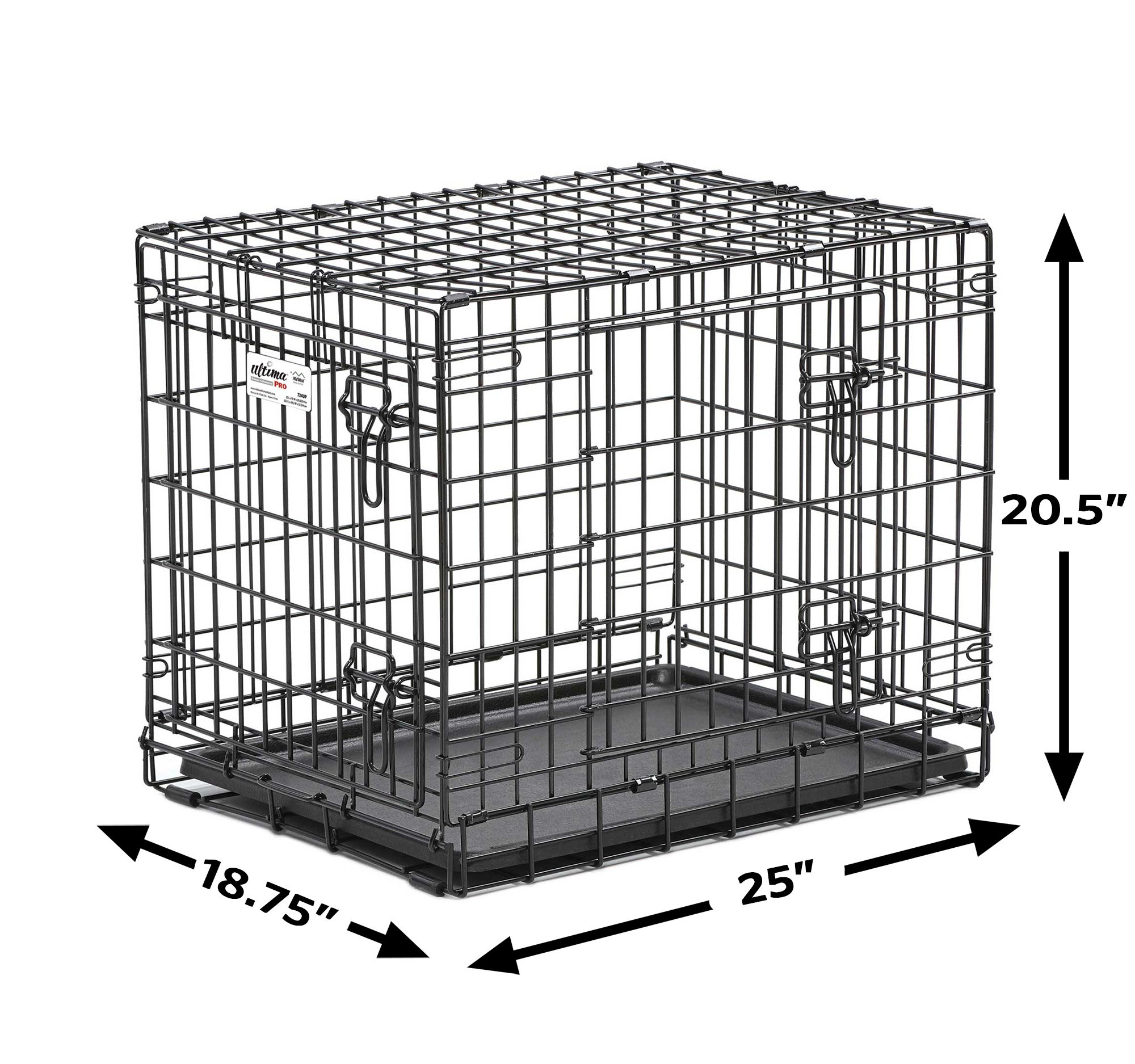 Ultima Pro (Professional Series & Most Durable MidWest Dog Crate) Extra-Strong Double Door Folding Metal Dog Crate w/Divider Panel, Floor Protecting Roller Feet & Leak-Proof Plastic Pan by MidWest Homes for Pets (Image #3)