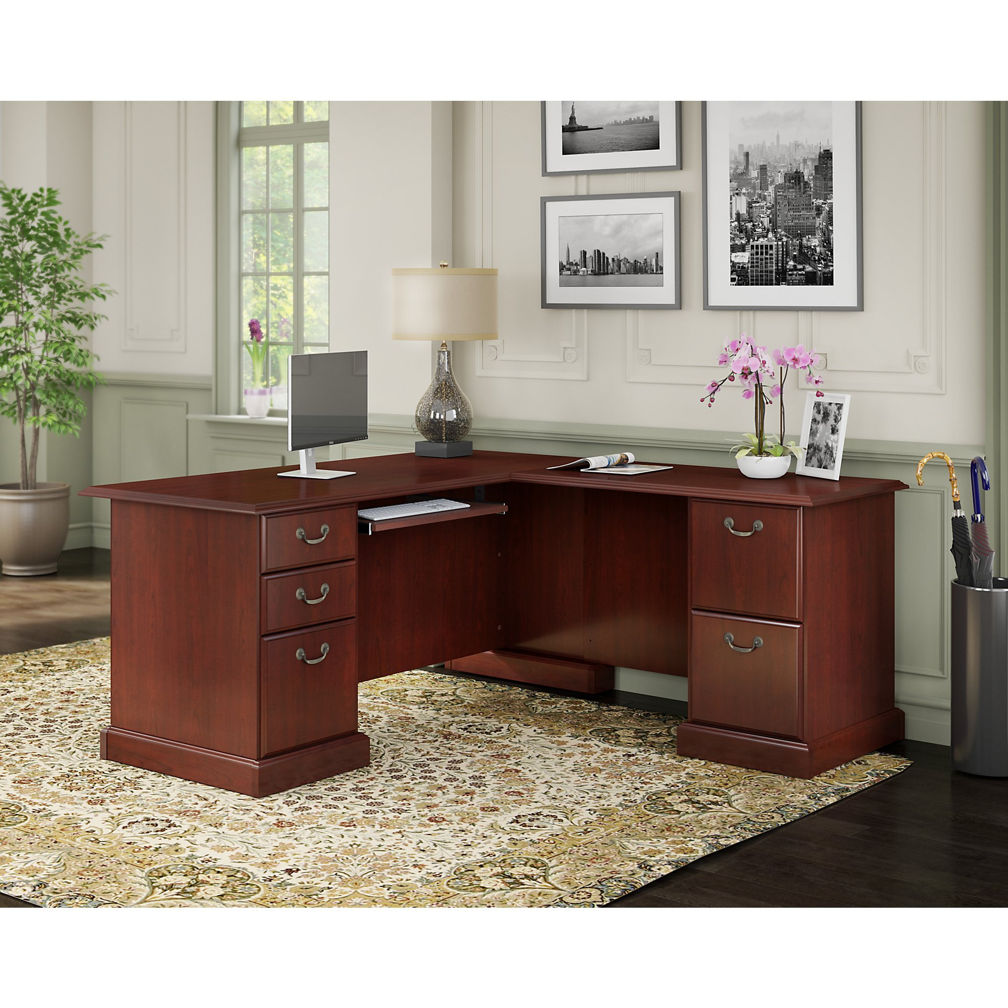 kathy ireland Office by Bush Furniture Bennington L Shaped Desk with Drawers in Harvest Cherry by kathy ireland Home by Bush Furniture (Image #2)