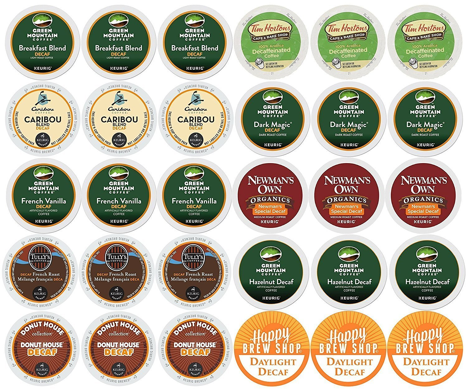 30-count TOP BRAND DECAF COFFEE Variety Sampler Pack, Single-Serve Cups for