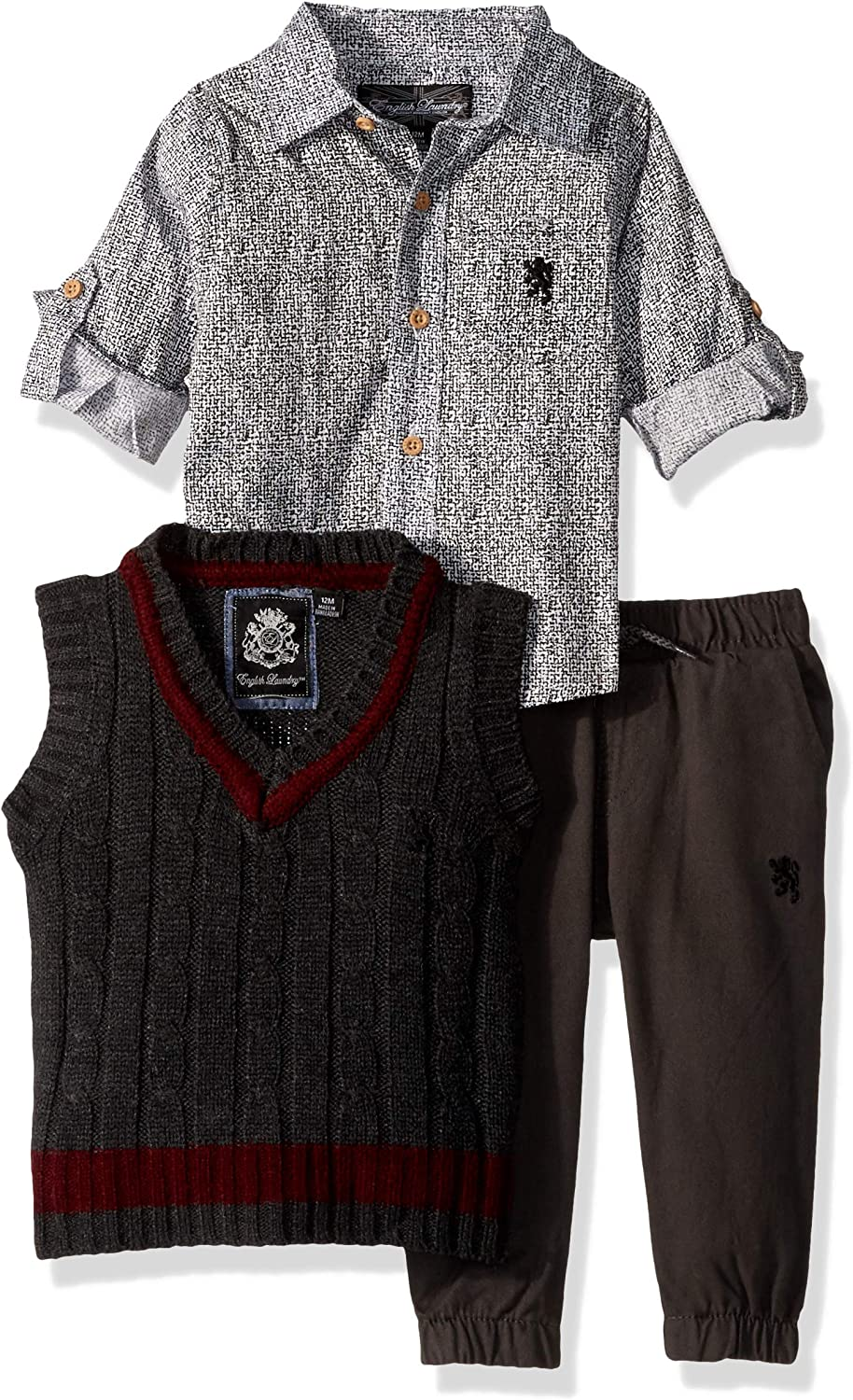 English Laundry Baby Boys Long Sleeve Woven Shirt, Vest, and Pant Set