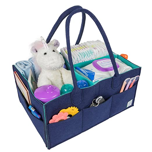 Baby Diaper Caddy Organizer by MI Risingstar - Large Nursery Storage Bin - Portable Car Travel Tote Bag and Changing Table Organizer - Baby Shower Gift Basket - Newborn Registry for Boy or Girl