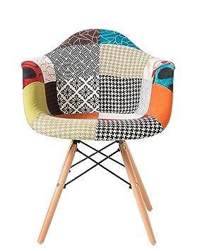 thomas wood fauteuil patchwork multicolore fauteuil rtro moderne de patchwork chaise scandinave de bureau - Fauteuil Scandinave Patchwork