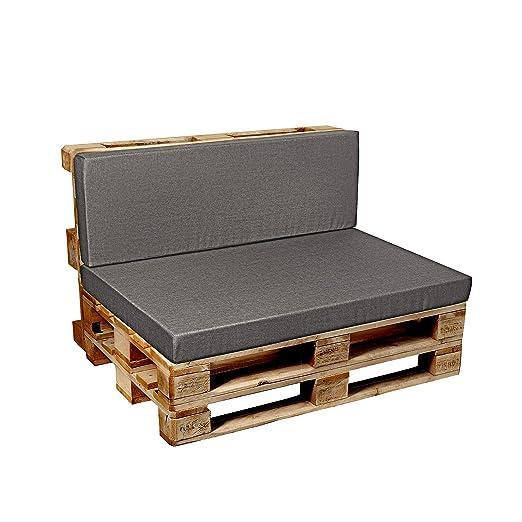 Garden Factory Cojines para sofá-palé europalé, Cojin de Asiento, Cojin de Respaldo, Set, Plano, In/Outdoor
