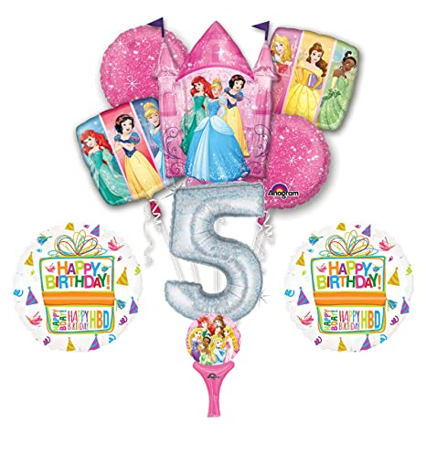 Amazon New 9pc Disney Princess 5th BIRTHDAY PARTY Balloons