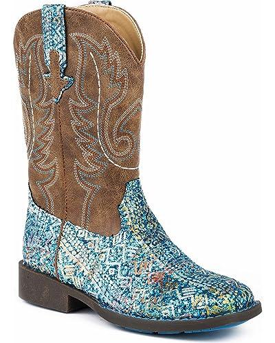 903e58d4fa3 Roper Kids Glitter Aztec Round Toe Blue Boots