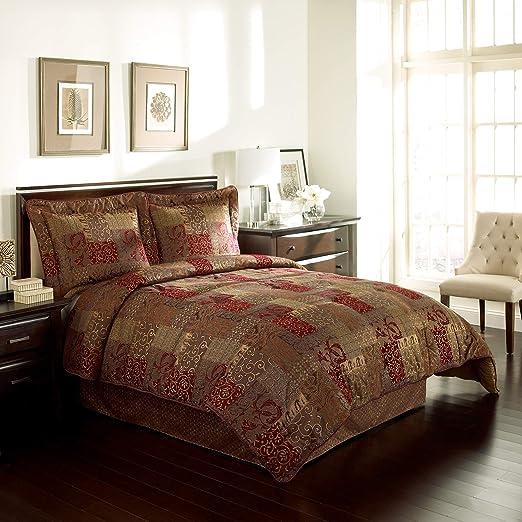 Amazon Com Croscill Galleria 4 Piece Queen Comforter Set Red
