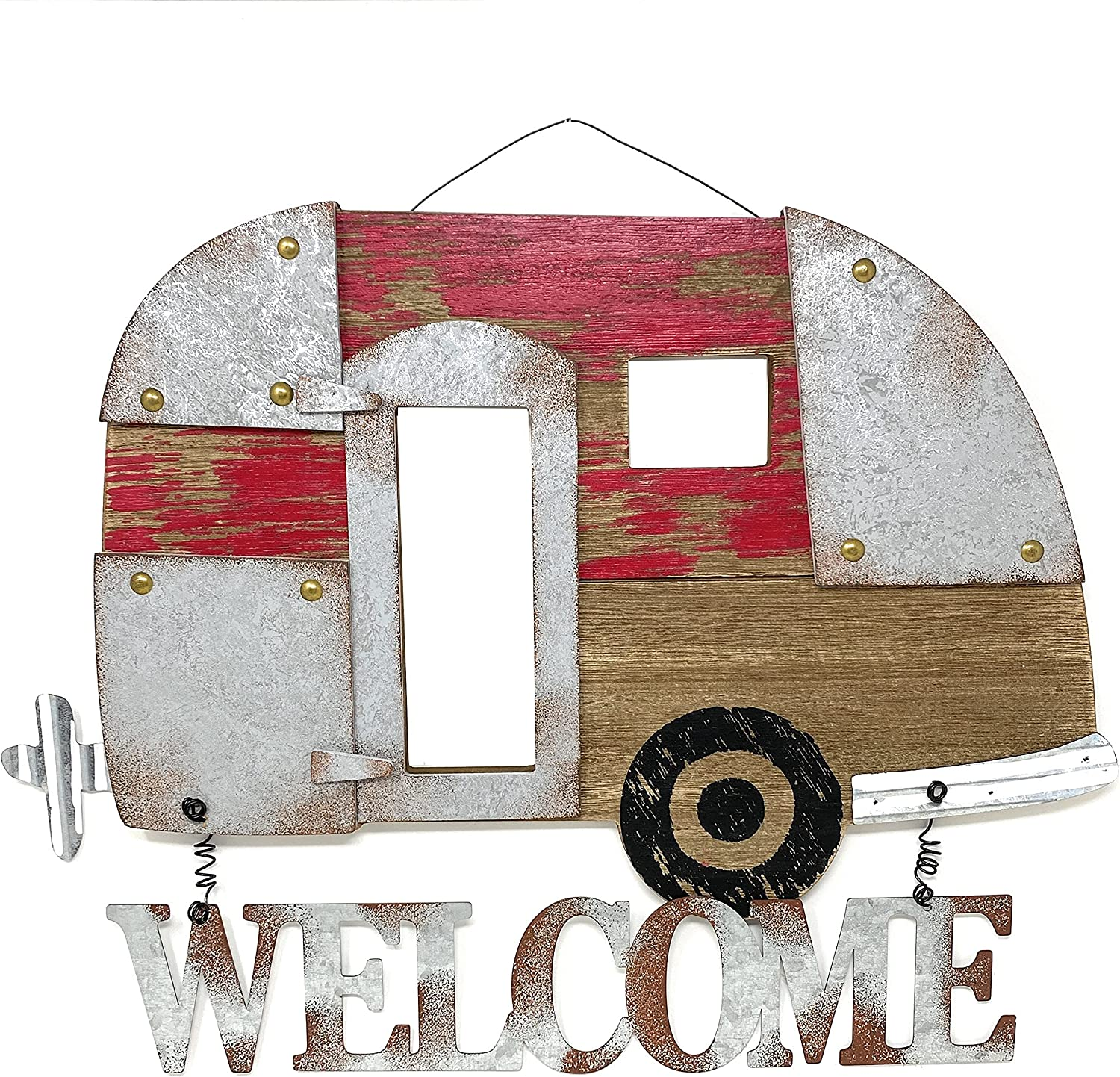 Welcome Camper RV Trailer Sign Large Rustic Front Door Wall Wood Metal Outdoorsy Inspired Accent Decor 17
