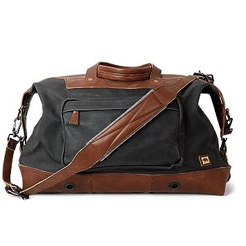 b6d192e44 Amazon.com | Waxed Canvas and Genuine Leather Oversized Travel Bag for Men  | Dakota by Buffalo Jackson | Large Weekend Luggage, Soft-Sided Duffle  (Navy ...