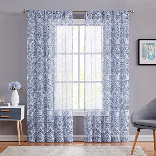 Fmfunctex Blue Damask Print Sheer Curtains 95 Long on Premium White Sheers for Living Room Linen Look Bedroom Window Draperies for Farmhouse Set of 2