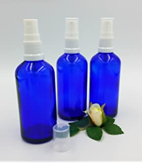 Set de 3 botellas 100 ml cristal azul con atomizador pulverizador blanco - spray pulverizador -