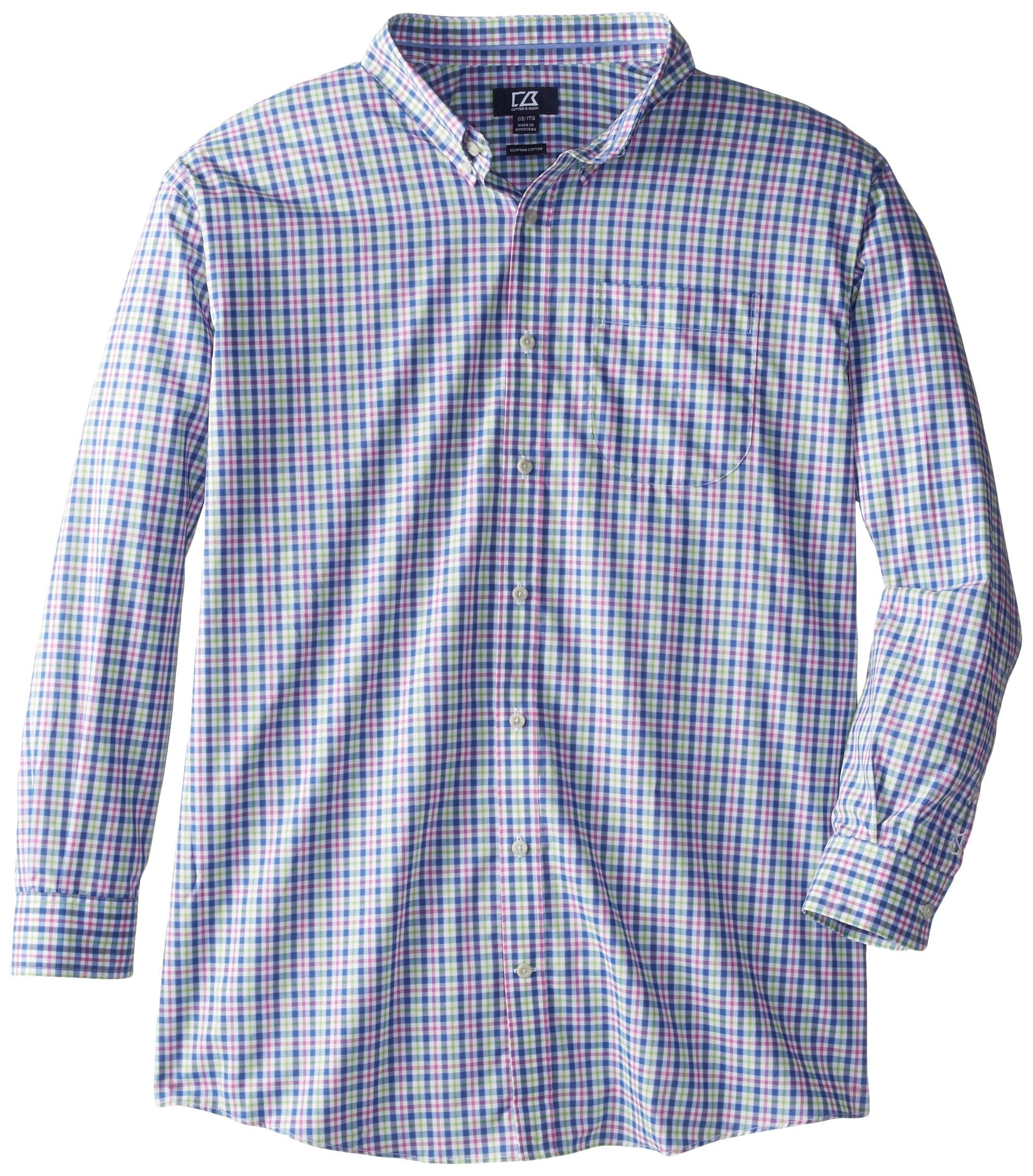 Cutter & Buck Men's Big-Tall Long Sleeve Evergreen Plaid Shirt, Multi, 3X/Big