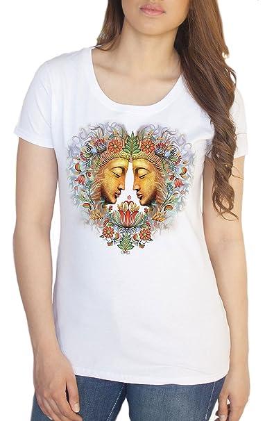 Camiseta Blanca de Las Mujeres Buda OM Asum Yoga Chakra ...