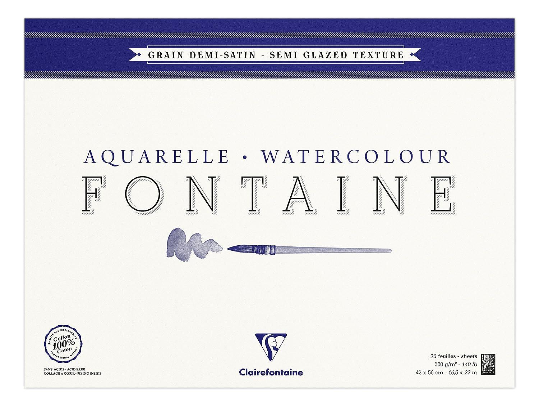 Clairefontaine 96409C Blocco Incollato di Carta Satinata 1 2, 42 x 56 cm, 25 Fogli, Bianco