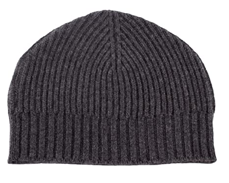 Love Cashmere Mens Ribbed 100% Cashmere Beanie Hat - Dark Gray ... 59c0be06be8