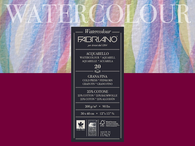 Fabriano Studio carta acquerello 200g 30x 40cm bianco 72613040