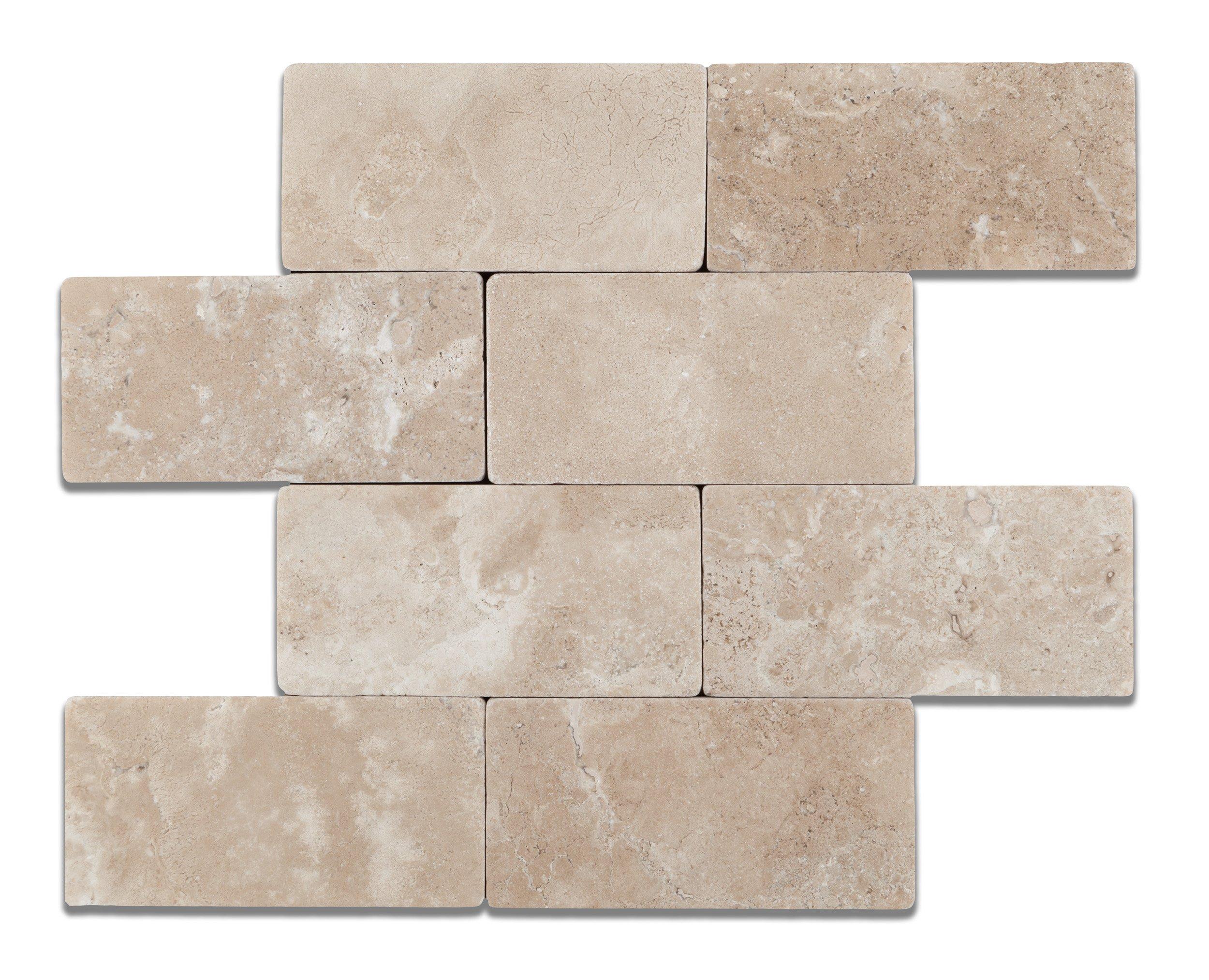 Durango Cream (Paredon) Travertine 3 X 6 Subway Field Tile, Tumbled - Lot of 50 sq. ft.