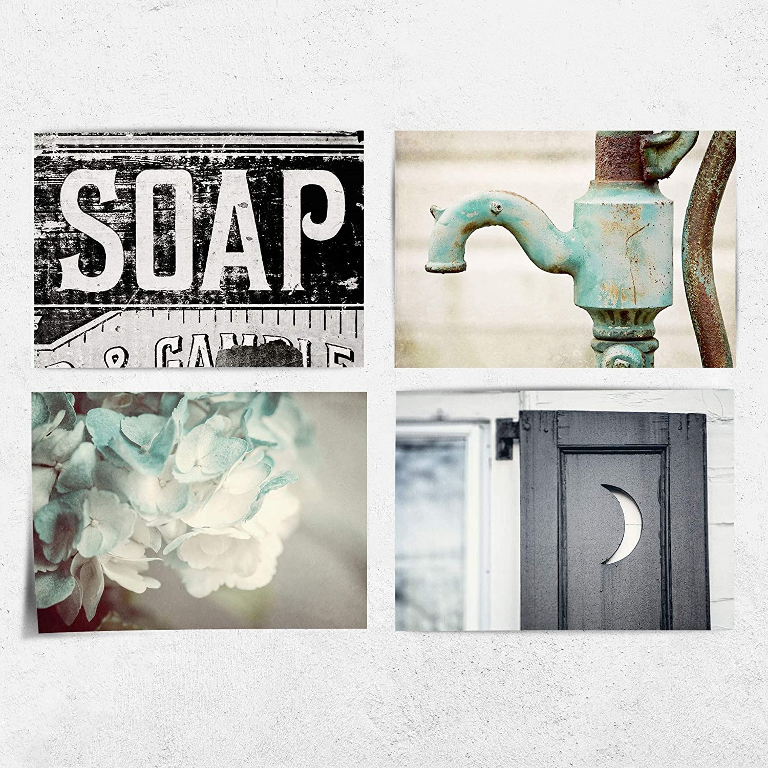 """Rustic Farmhouse Bathroom Wall Decor Set of 9 9x9"""" Fine Art Prints (Not  Framed). Cottage Shabby Chic Bath Pictures in Aqua, Black and Teal. (FBA99)"""