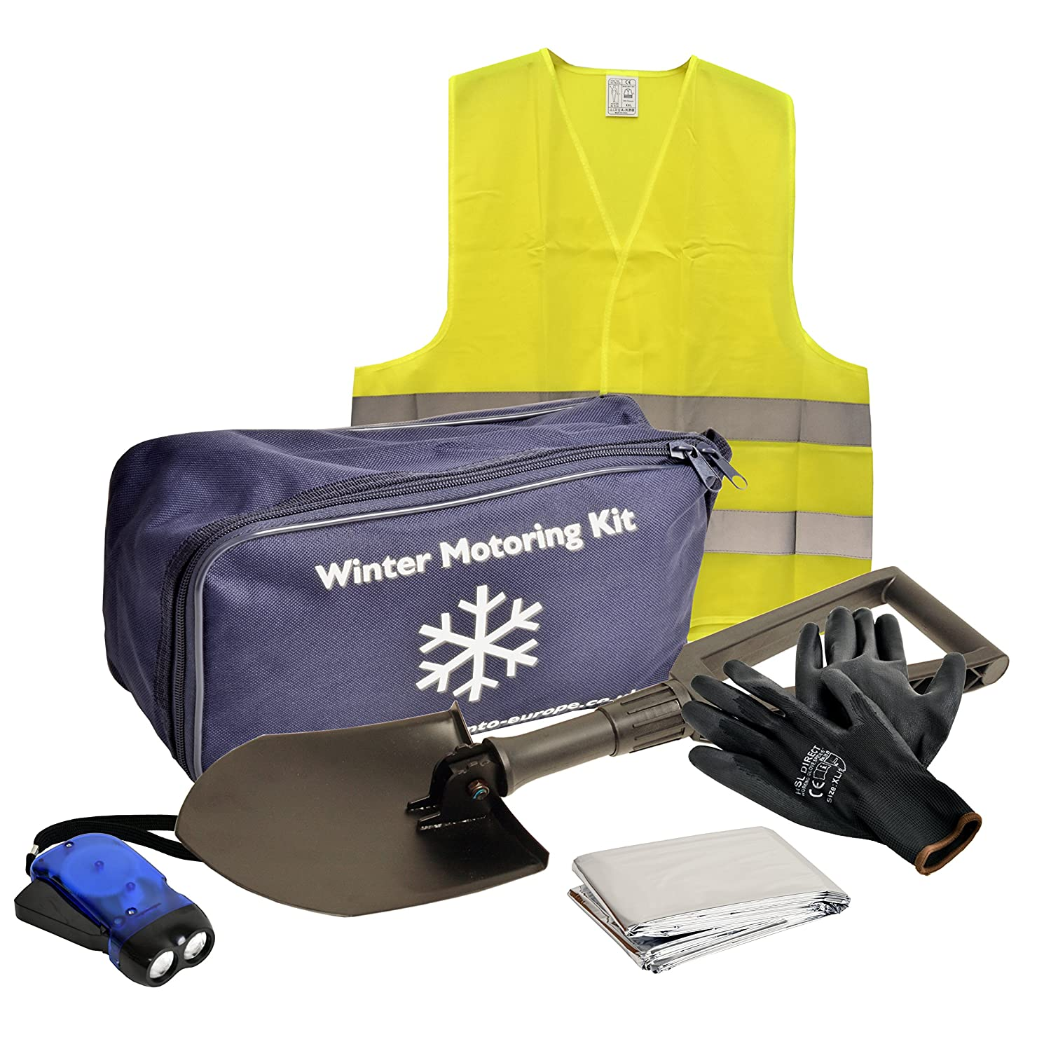 Winter Car Safety Motoring Kit, Cold Weather Essentials, Snow And Ice Preparation Kit, 6 Piece Emergency Breakdown Kit Driving Travel
