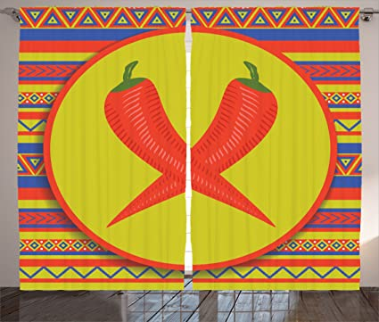 Lunarable Mexican Curtains Two Red Peppers Pattern Horizontal Striped Backdrop Living Room Bedroom
