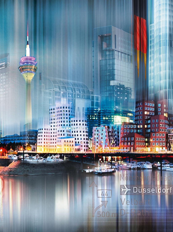 Artland Qualitätsbilder I Bild auf Leinwand Leinwandbilder Wandbilder 60 x 80 cm Städte Deutschland Düsseldorf Digitale Kunst Grau A8UT Skyline Abstrakte Collage