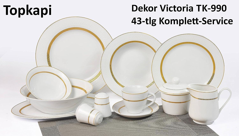 Salatteller Suppenteller /Ø 23cm Topkapi Victoria TK-990-6er Set Tiefe Teller mit Golddekor