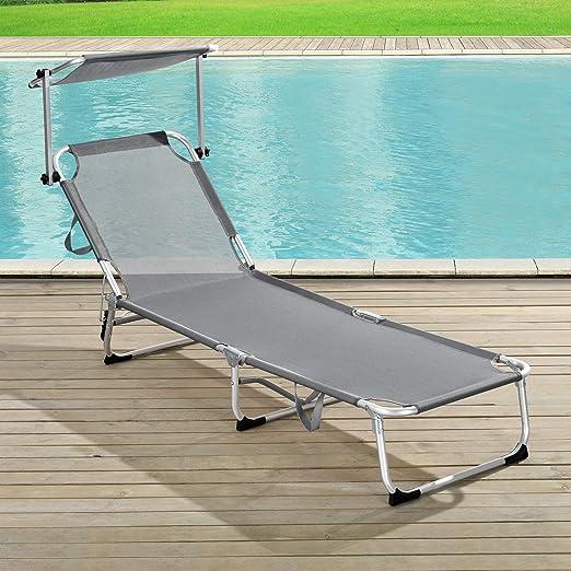 Tumbona 189,5 x 55 x 26 cm Silla de Playa con Parasol para jard/ín terraza Patio Piscina Playa Beige casa.pro
