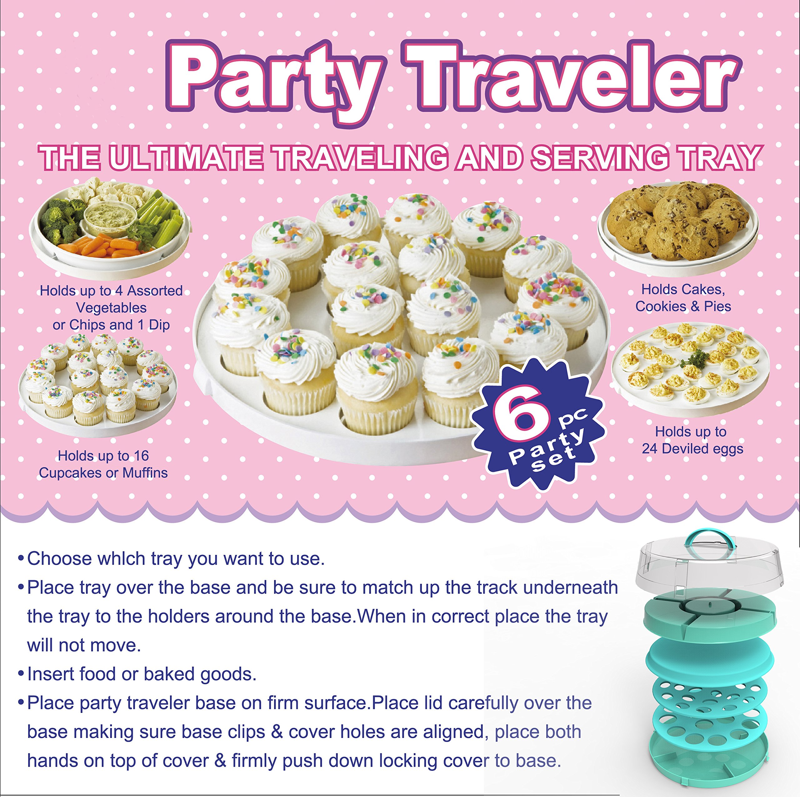 4-in-1 Cake Carrier - kitchen safe locking container - cupcake caddy - cake plate with dome - dessert tray and cover - Locking lid pies container bundt cake holder by DOTERNITY (Image #6)