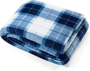 Nautica Northsail Collection Silky Microfiber Plush Fleece Plaid Blanket, Ultra Soft and Cozy Light-Weight Throw, Easy Care Machine Washable, King, Navy Reef