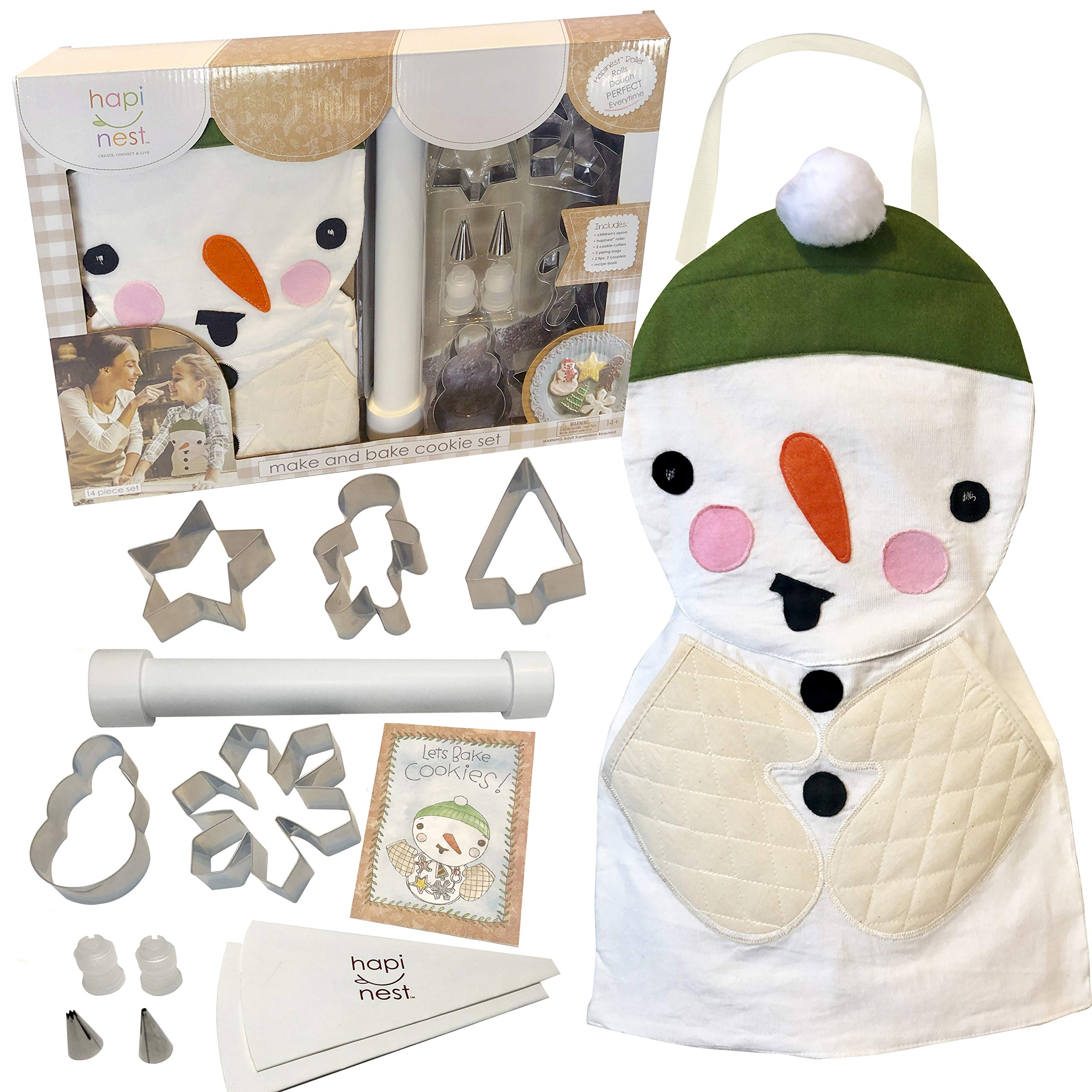 Hapinest Kids Baking Set for Girls and Boys Gifts, Make and Bake Christmas Cookies, Snowman Apron and Holiday Cookie Cutters, 14 pieces by Hapinest