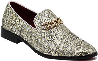 aa7338b81 Enzo Romeo SPK20 Men s Glitter Spider Web Chain Buckle Dress Loafers Slip  On Fashion Shoes Classic