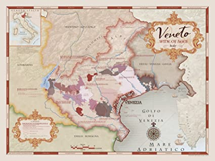 Wine Art Wine Region Map Of Veneto Italy Satin Matte Amazon Ca