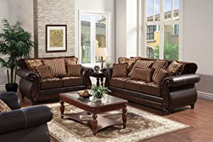 Furniture of America Esmeralda Fabric and Leatherette Sofa, Dark Brown Finish