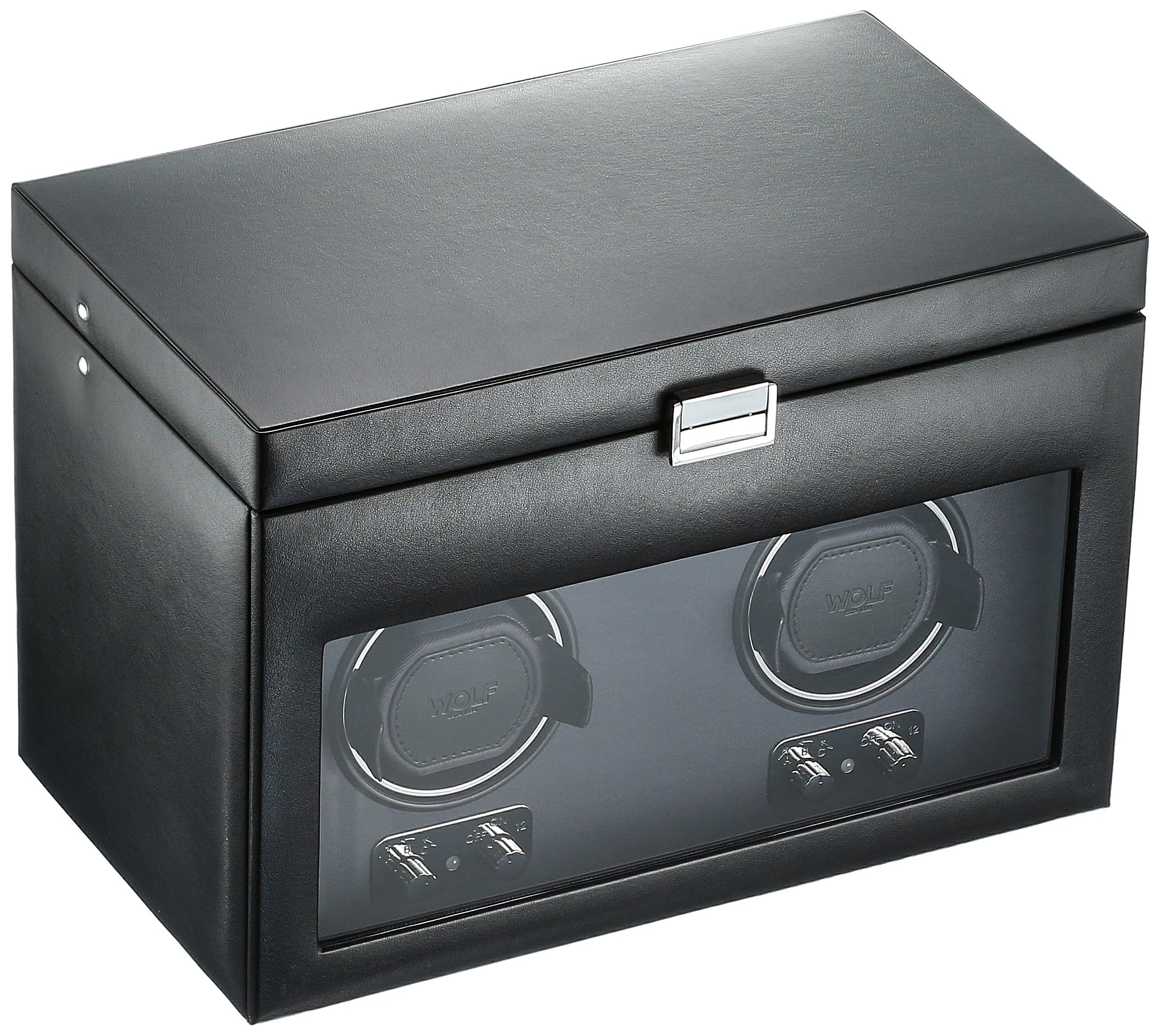 WOLF 270402 Heritage Double Watch Winder with Cover and Storage, Black by WOLF (Image #1)