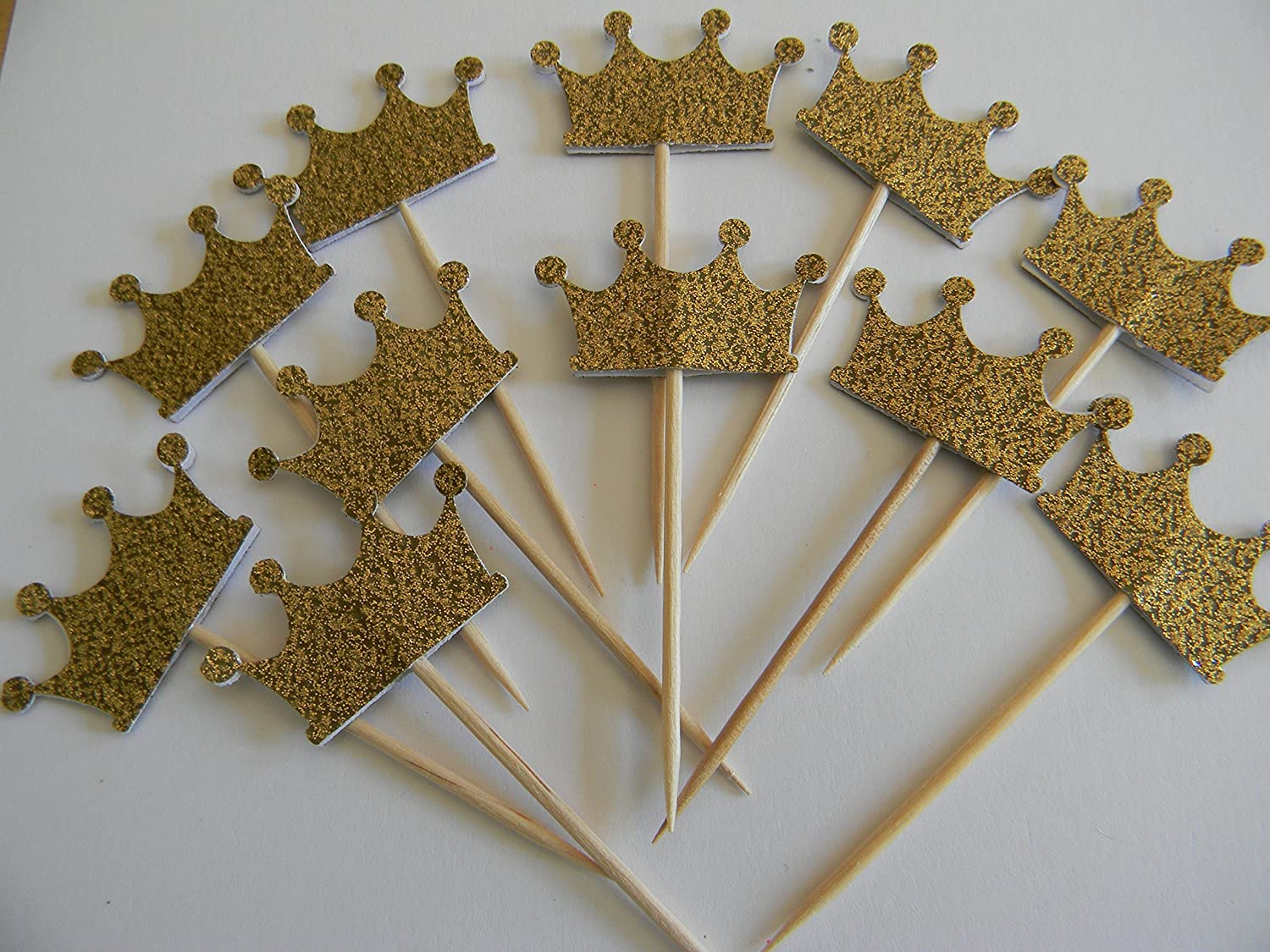 Set of 24 Gold glitter crown cupcake toppers