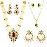 Touchstone Traditional Multicolor Crystals Faux Pearls Alloy Combo Of Rani Haar Necklace Set Pendant Set One Pair Of Earrings In Gold Tone For Women