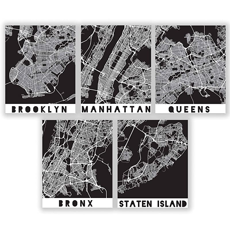 Amazon Com Five Boroughs Nyc Map Prints New York City Wall Art Black White Manhattan Brooklyn Bronx Queens Staten Island New York Posters Street Maps For The City