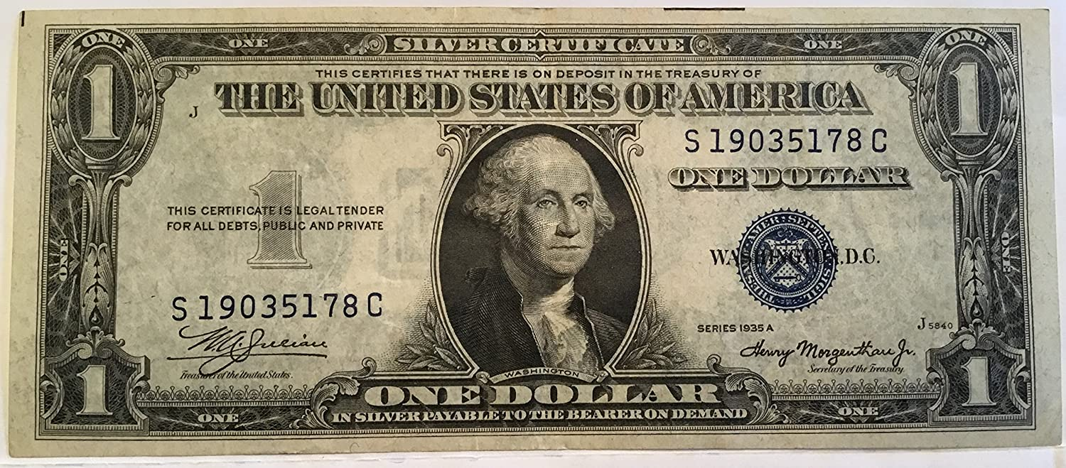 Amazon 1935 Series A 1 One Dollar Silver Certificate Currency