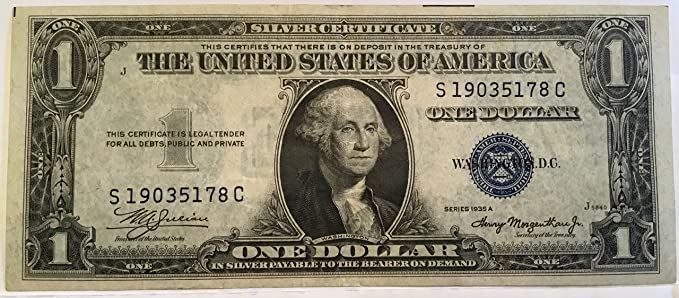 Amazon.com: 1935 Series A $1 One Dollar Silver Certificate Currency ...