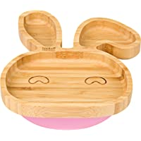 Bebé conejo placa de succión, Stay Put alimentación placa, bambú natural
