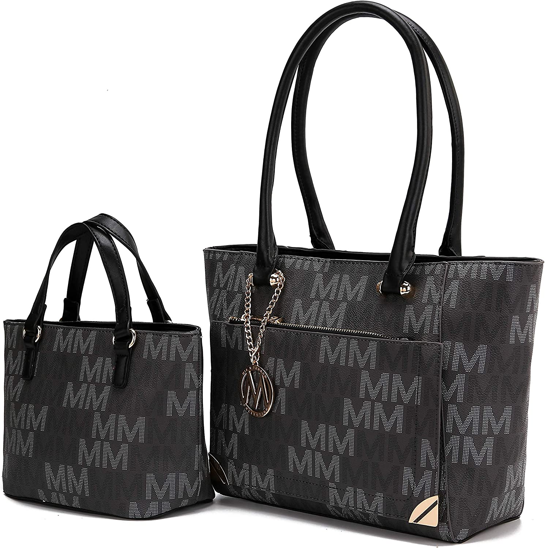 MKF Tote Shoulder Bag, Satchel Handbag for Women Set PU Leather Top Handle Purse, Gold-Tone Hardware