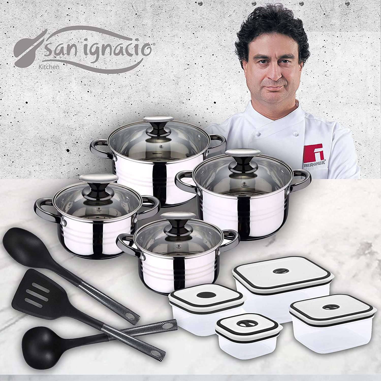 San Ignacio Premium Set de Bateria 8 Piezas + 4 recipientes herméticos + 3 Utensilios de Cocina, Oscurecido