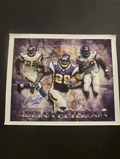 b845a1f8 Adrian Peterson Signed Minnesota Vikings Autographed Art Canvas at ...
